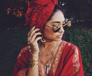 girl, bohemian, and red image