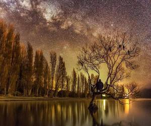 lake, stars, and new zealand image