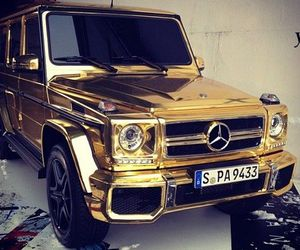 gold, car, and mercedes image