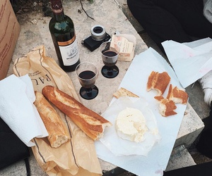 food, wine, and bread image