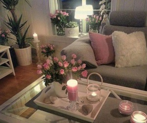 room, candle, and flowers image
