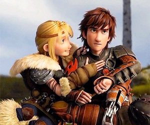 hiccup, astrid, and httyd image