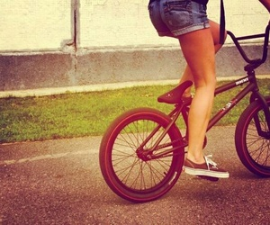 bicycle, girl, and vans image