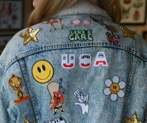 jacket, patch, and denim image