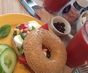 bagel, mozzarella, and summer image