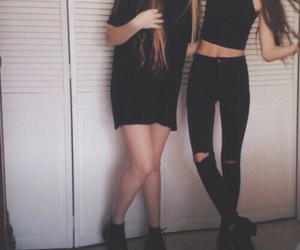 black and white, girls, and best friends goals image