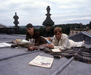 Jeremy Irons, rooftop, and vintage image
