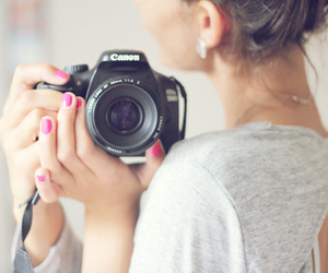 camera, canon, and pink image