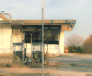 architecture, house, and gas station image