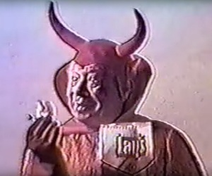 Devil, horns, and video image