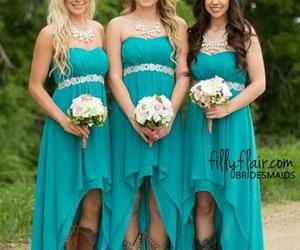 blue dress, wedding, and brides maids image