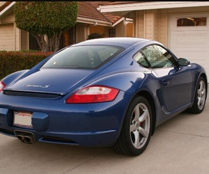 blue, porsche, and cayman image