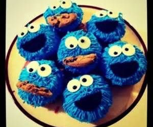 cupcake, cookie monster, and food image