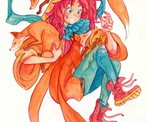 fox, girl, and foxes image