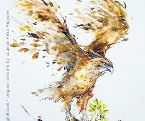 art, bird, and eagle image