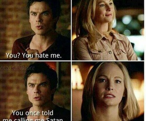 damon salvatore, caroline forbes, and funny image