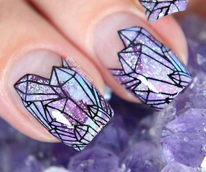 nails, purple, and crystal image