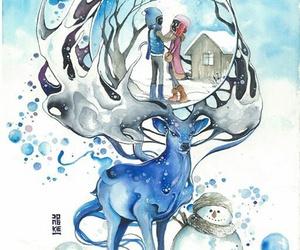 art, couple, and deer image