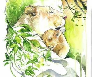 cub, illustration, and lioness image