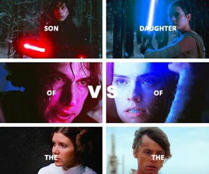 the force awakens, kylo ren, and rey image