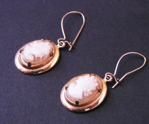 etsy, vintage jewellery, and cameo earrings image