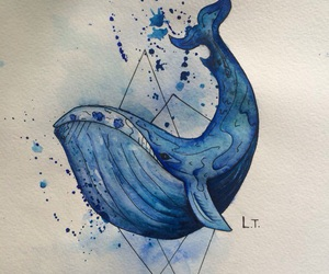 art, blue, and whale image