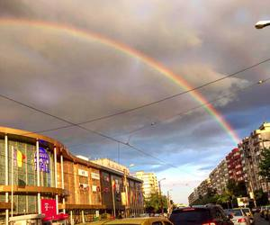 city and rainbow image