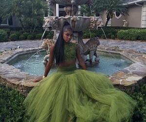 dress, green, and Prom image