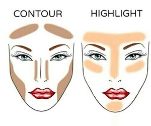 makeup, contour, and highlight image