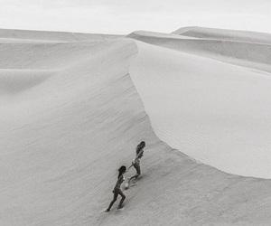 black and white, sand, and desert image