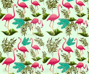 prints for sale, copyright bluedarkart, and pink flamingos pattern image