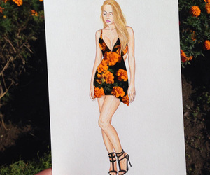 cut out, dress, and orange flowers image