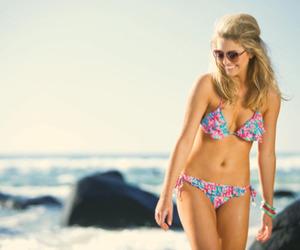 bikini, girl, and beach image