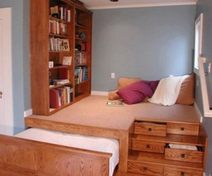 room, bed, and book image