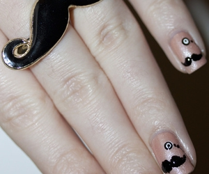 nails, mustache, and pink image