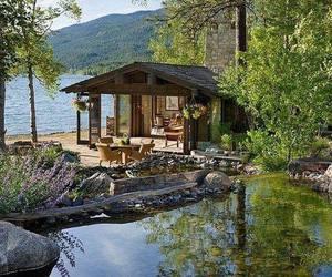 house, lake, and lake house image