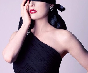 black hair, burlesque, and diamonds image