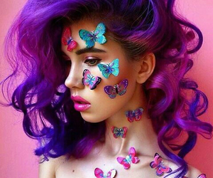 butterfly, girl, and hair image