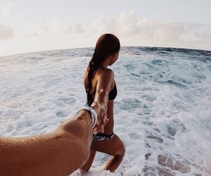 beach, couple, and summer image