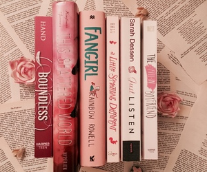 books, pink, and just listen image