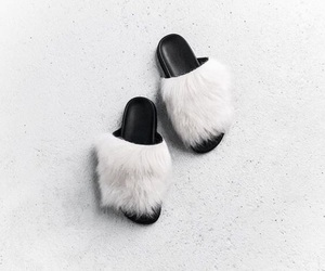 faux fur, i want, and slip ons image