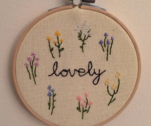 embroidery, lovely, and flowers image