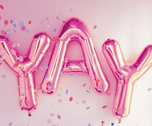 pink, yay, and balloons image