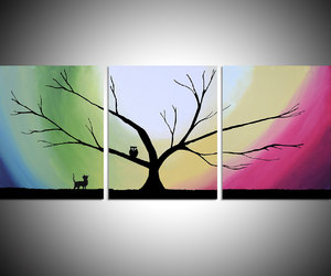 cute animal, cute owl, and Oil Painting image