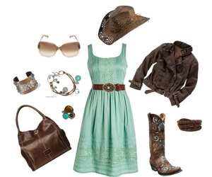 aqua dress and country style image