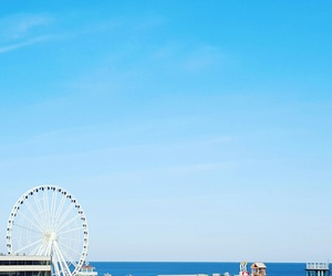 beautiful, blue, and ferris wheel image