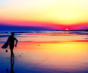 surf, beach, and sunset image