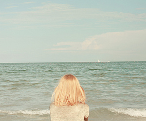 girl, sea, and beach image