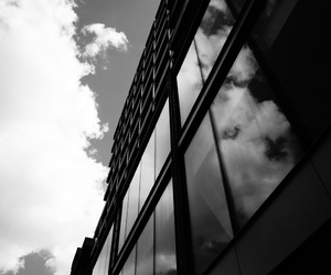 architecture, black and white, and glass image