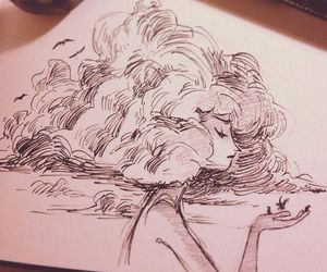 drawing, art, and clouds image